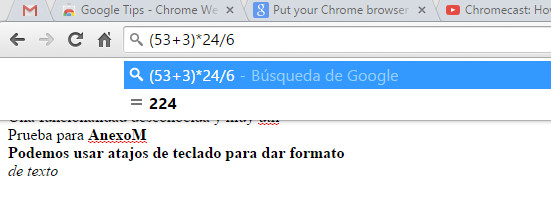 Chrome como una calculadora