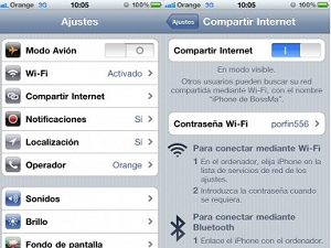 compartir internet de un iPhone