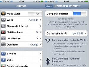 compartir internet de un iPhone